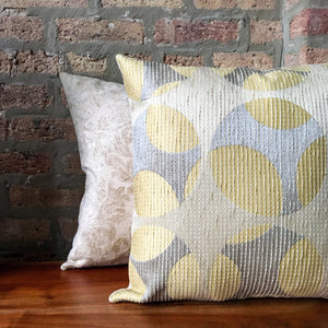 18x18 Neutral Contemporary Pillow Covers | Cream, Silver, Light Yellow | Reversible Square Pillows