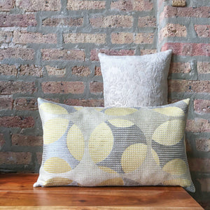 "12""x20"" Contemporary Cream, Silver and Light Yellow Lumbar Pillow Covers 