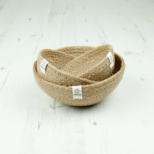 Load image into Gallery viewer, ReSpiin Jute Mini Bowl Set x3 Natural