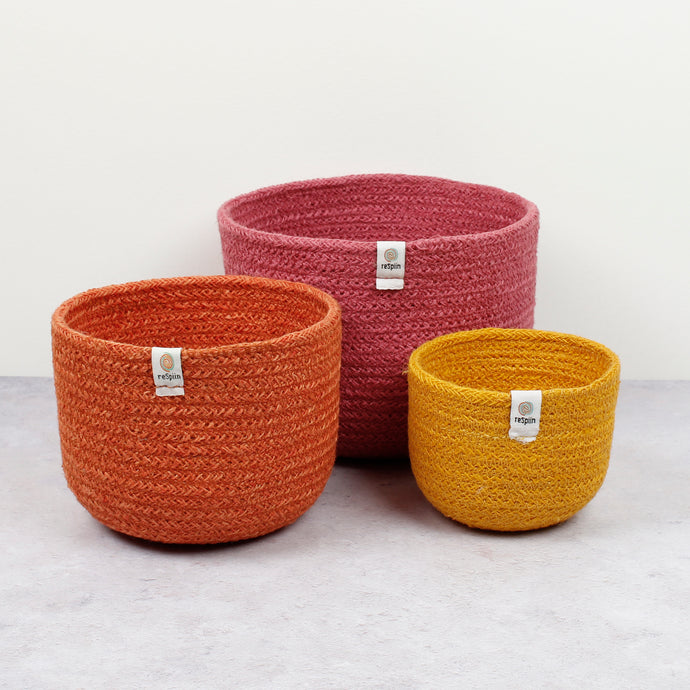 ReSpiin Tall Jute Basket Set x 3 Fire