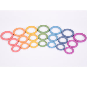 Tickit Loose Parts Rainbow Wooden Rings 70mm Single & Sets