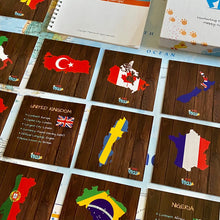 Load image into Gallery viewer, TEDDO PLAY 40 LEARNING CARDS - COUNTRIES,CITIES FLAGS, BORDERS & MORE (POPULAR COUNTRIES OF THE WORLD SET)