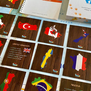 TEDDO PLAY 40 LEARNING CARDS - COUNTRIES,CITIES FLAGS, BORDERS & MORE (POPULAR COUNTRIES OF THE WORLD SET)