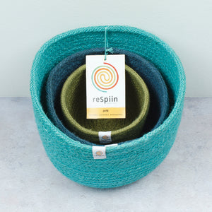 ReSpiin Tall Jute Basket Set x 3 Ocean