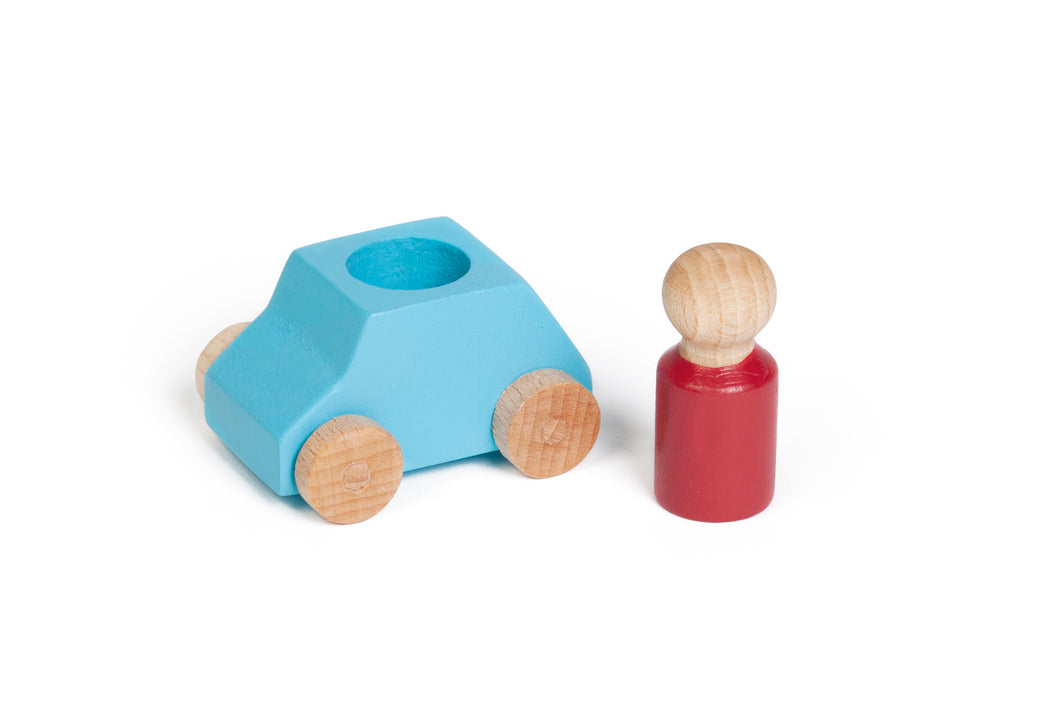 LUBALONA TURQUOISE WOODEN TOY CAR