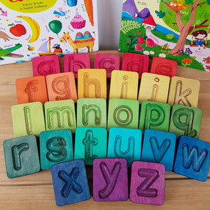 Rainbow Wooden Alphabet Cubes