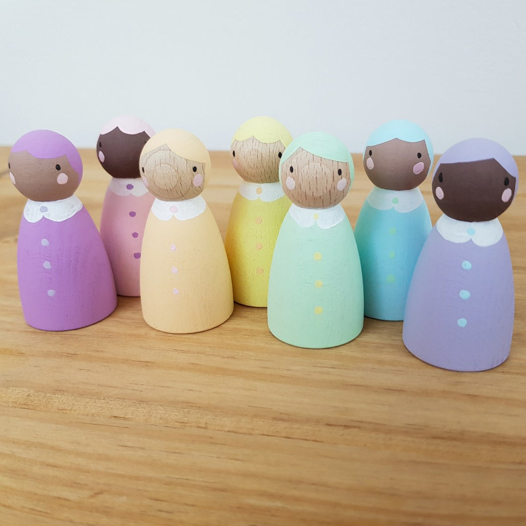 Handcrafted Pastel Peg Dolls