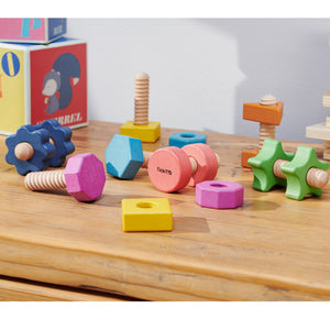Tickit Rainbow Wooden Nuts & Bolts - Pk7