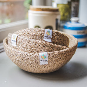 ReSpiin Jute Mini Bowl Set x3 Natural