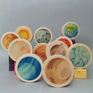 Waldorf Solar Circles. Wooden Planets for Smallworld and STEM learning. CE