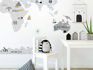 Pastelowelove Grey World Map Wall Stickers