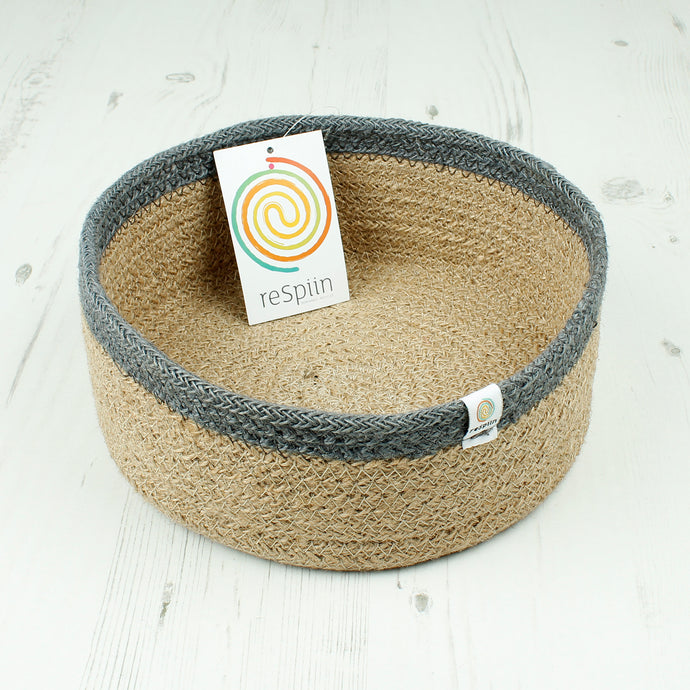 ReSpiin Shallow Jute Basket Medium Natural / Grey