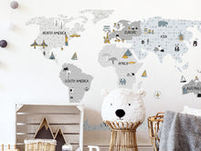 Load image into Gallery viewer, Pastelowelove Grey World Map Wall Stickers