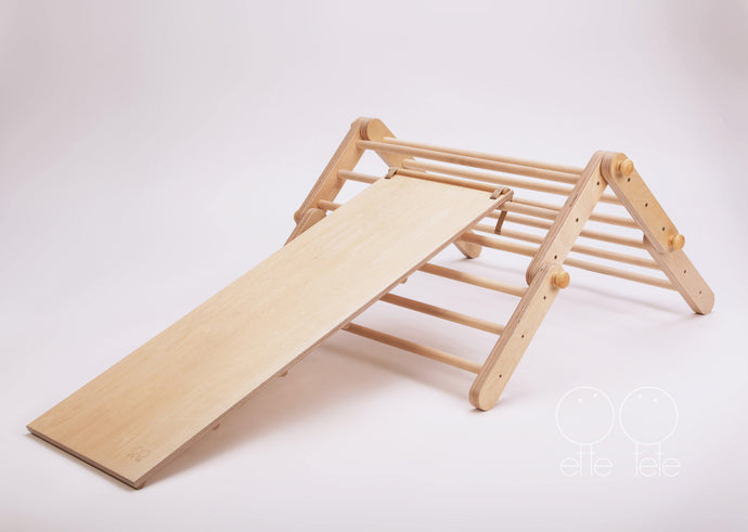 Modifiable Pikler Triangle 'Mopitri' Climbing Frame with Ramp/Slide