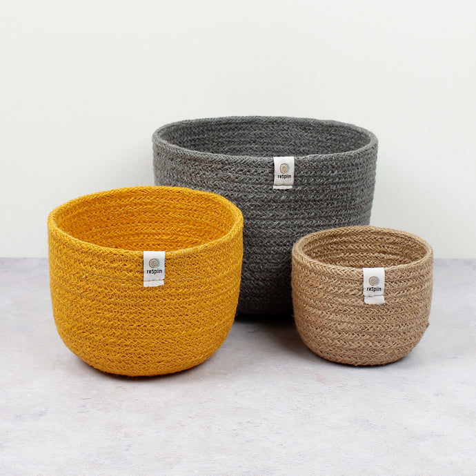 ReSpiin Tall Jute Basket Set x 3 Beach