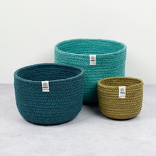 Load image into Gallery viewer, ReSpiin Tall Jute Basket Set x 3 Ocean
