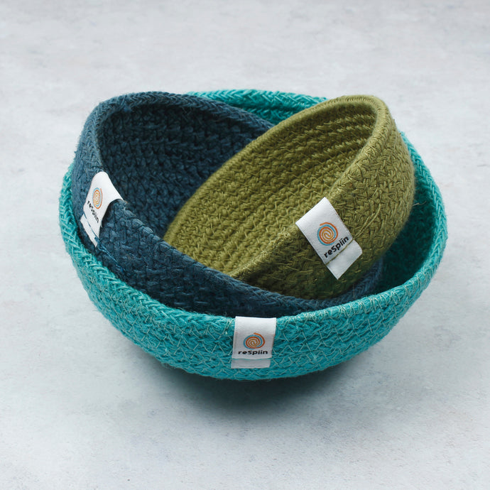 ReSpiin Jute Mini Bowl Set x 3 Ocean