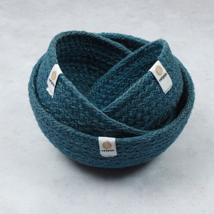 ReSpiin Jute Mini Bowl Set x3 Denim