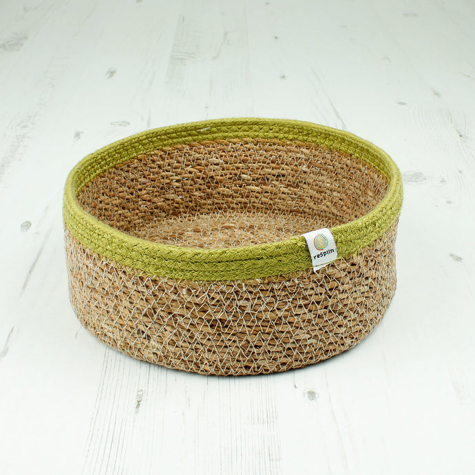 Respiin Shallow Seagrass & Jute Basket Medium Natural / Green