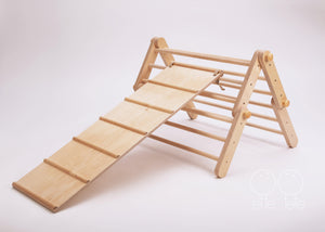 *Pre Order* Ette Tete Modifiable Pikler Triangle 'Mopitri' Climbing Frame with Ramp/Slide