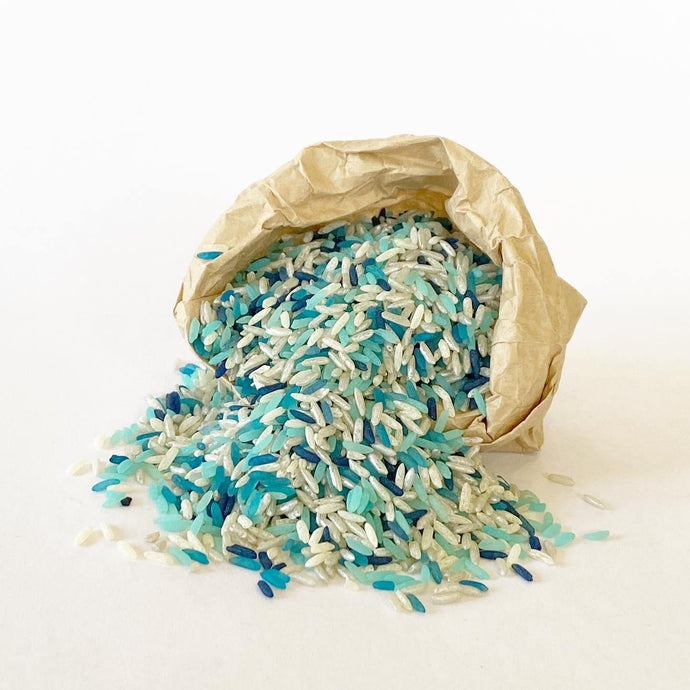 Sensory Scented Rice 175g - Blue & White Mix - Isaac's Treasures