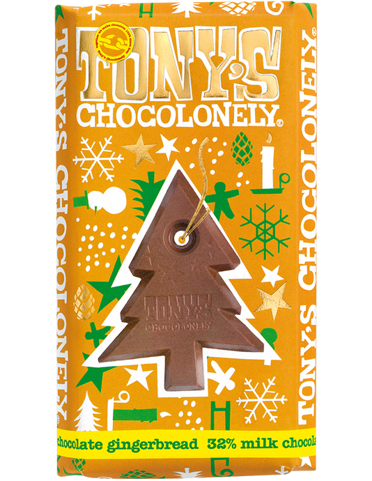 Tony's Chocolonely Fairtrade Christmas Milk Chocolate Gingerbread 180g