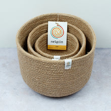 Load image into Gallery viewer, ReSpiin Tall Jute Basket Set x 3 Natural