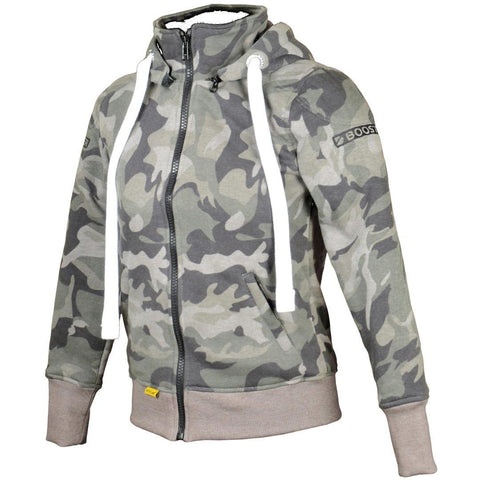 Booster Core Women´s Hoody Ladies Motorcycle Zip Hoodie - Camo Green - Booster