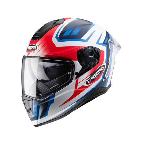 CABERG DRIFT EVO GAMA - MATT WHITE/RED FLUO/BLUE - Full face motorcycle helmet