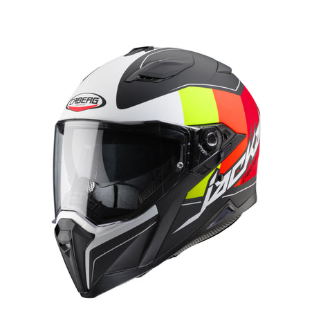 CABERG JACKAL IMOLA - MATT BLACK/MULTIFLUO/WHITE - Motorcycle Full Face Helmet