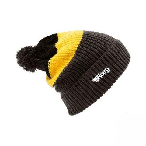 ROEG Averell Pom Knit Beanie Black/Yellow/Anthracite - Roeg