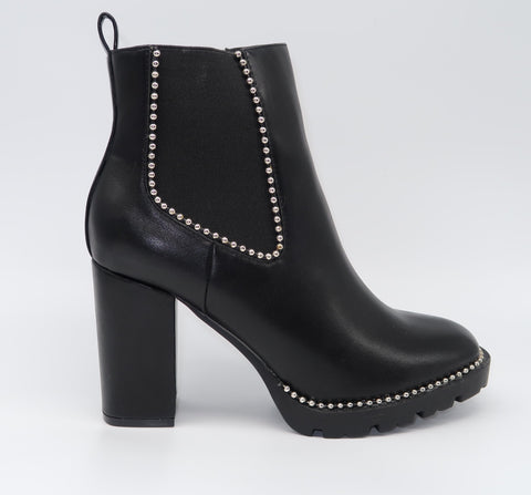 Black Leather Stitched Ankle Boots with Block Heel