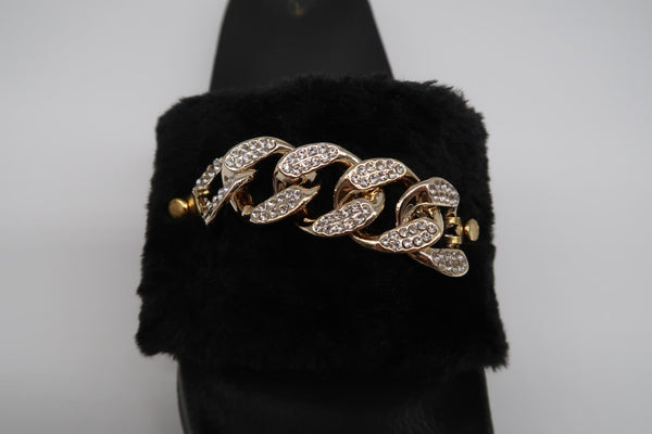 Black Fur Sliders with Gold DIamante Chain