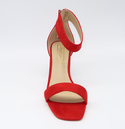 Red Ankle Strap With Patterned Heel.