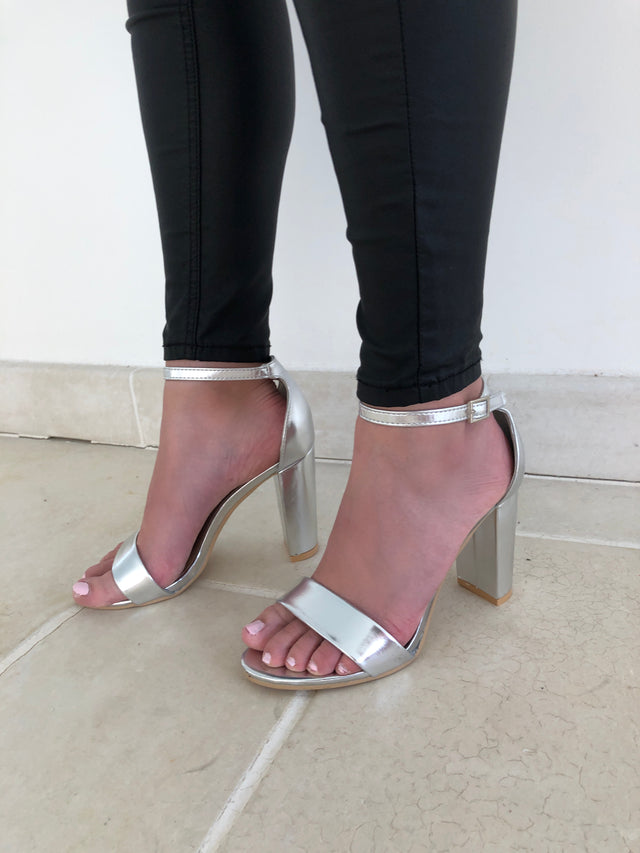 Silver Single Strap Sandals with Block Heel