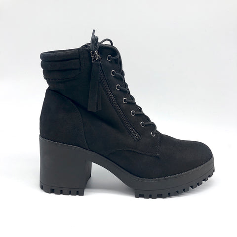 Black Suede laced and side zip Ankle boots