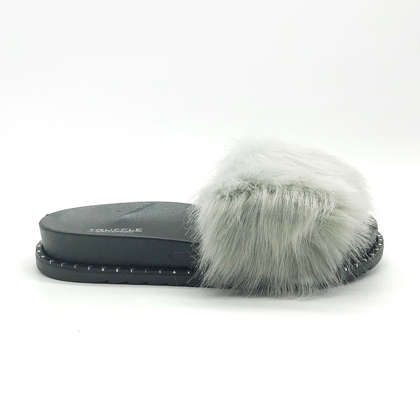 Grey Fur Platform Studded Sliders