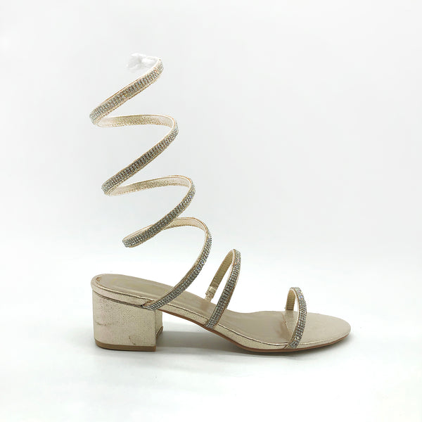Gold Metalic Wrap Ankle Heel Sandals with Silver Diamantes