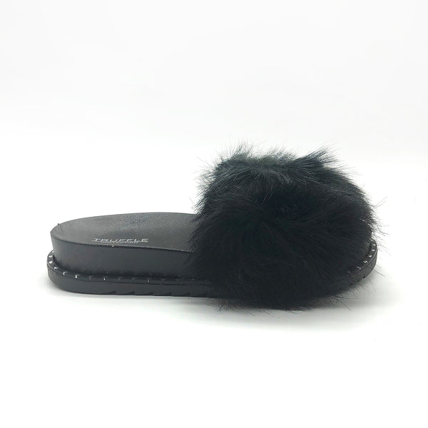 Black Fur Studded Sliders