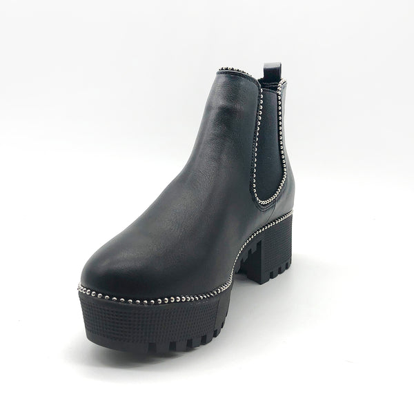 Black Ankle Boots with Silver Ball Studs