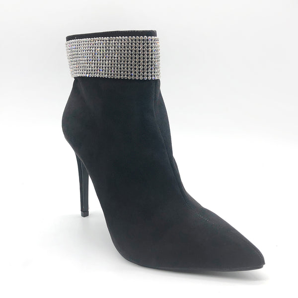 Diamante black suede heeled ankle boots - Excite Fashions