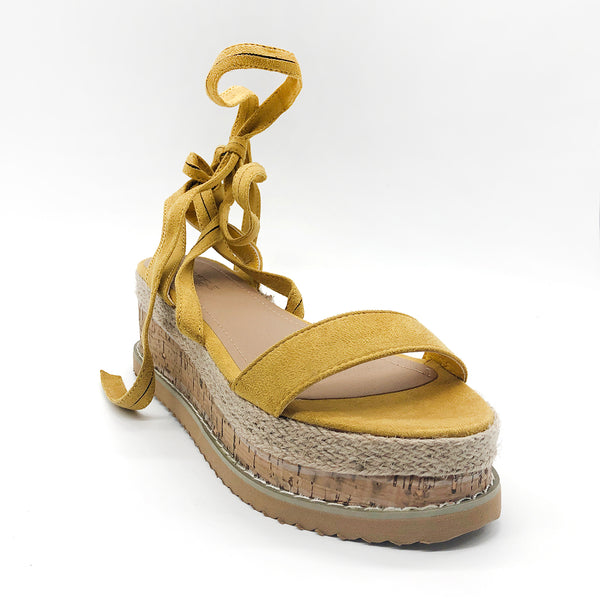 Suede Lace Up Cork Wedge Flat Espadrille Sandals Yellow