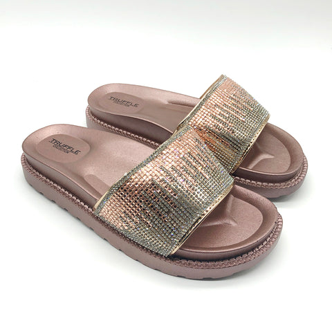 Rose Gold Patterend Diamante Platform Sliders