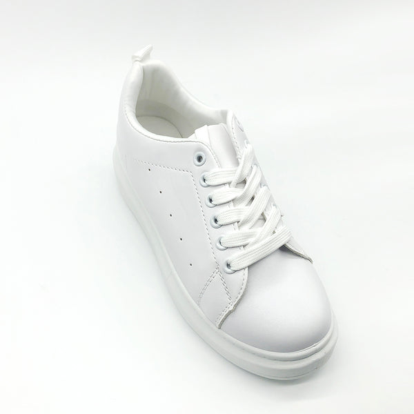 Plain White Laced up Trainers – Excite