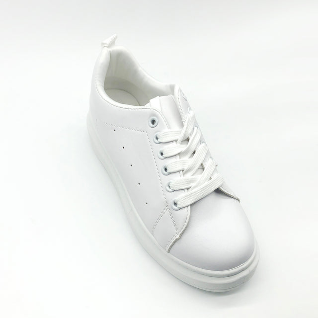 Plain White Laced up Trainers