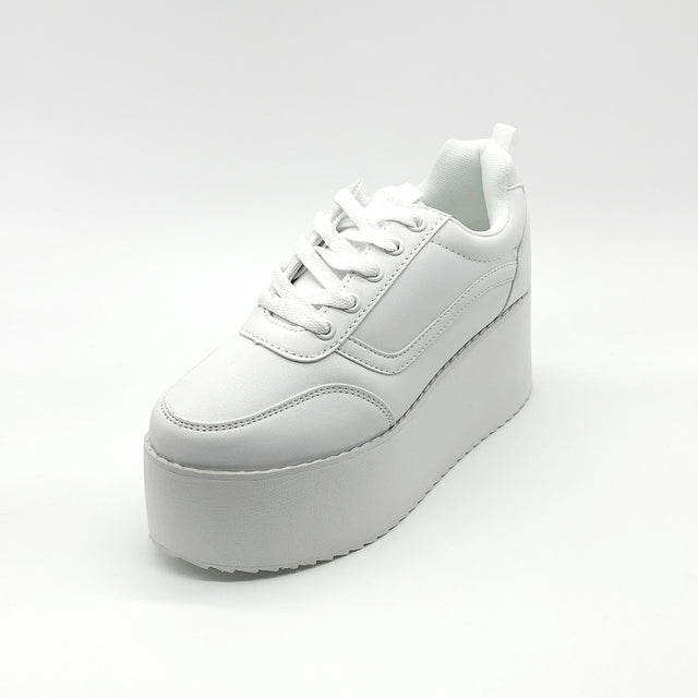 White Slim Platform Trainers