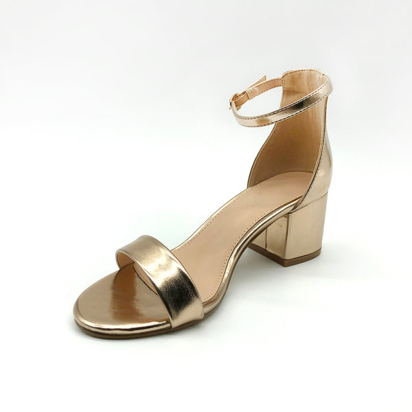 Gold Low Block Heel