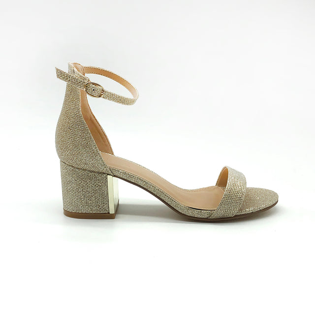 Elegant Glitzy Block Heeled Sandal with Ankle Strap