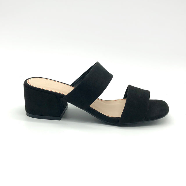 Slender Black Mules with Straps