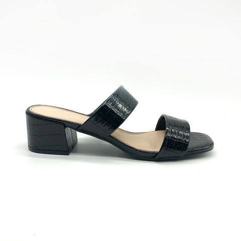 Patent Black Mules with Straps